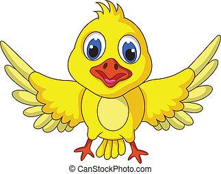 reizend, posierend, vogel, gelber , karikatur