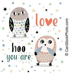 reizend, romantische , karte, mit, karikatur, owls., liebe, hoo, sie, ar