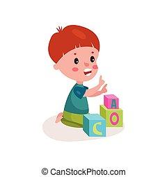 reizend, rothaarige, kleiner junge, sitzen boden, spielende , mit, block, spielzeuge, kind, lernen, durch, spaß, und, spielen, bunte, karikatur, vektor, abbildung