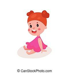 reizend, rothaarige, kleines mädchen, sitzen boden, kind, lernen, und, spielende , bunte, karikatur, vektor, abbildung