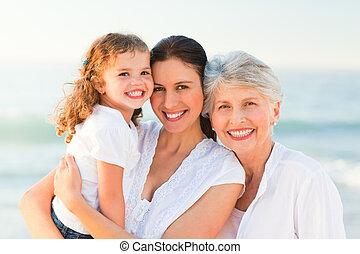 reizend, sandstrand, familie