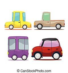 reizend, satz, autos, sammlung, vektor, karikatur