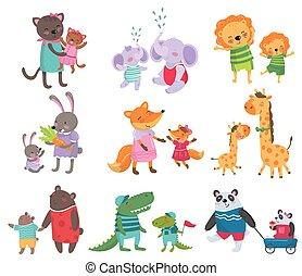 reizend, satz, familie, kaninchen, elefanten, bildung, kinder, portraits., krokodile, buch, tier, wohnung, giraffen, füchse, katzen, pandas., karikatur, karte, bã¤ren, s, vektor, loewen, oder