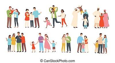 reizend, satz, familien, traditionelle , bunte, wohnung, weißes, vater, freigestellt, abbildung, heterosexuell, children., hintergrund., vektor, kids., charaktere, mutter, lächeln, style., karikatur, glücklich