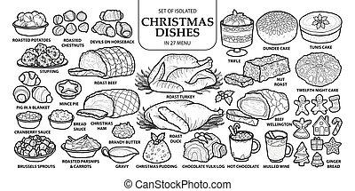 reizend, satz, grobdarstellung, geschirr, graue , plane., menu., freigestellt, abbildung, hand, traditionelle , 27, vektor, dunkel, gezeichnet, weißes weihnachten