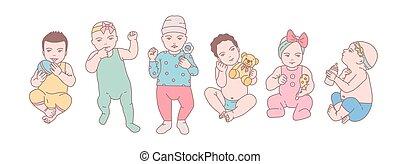 reizend, satz, kunst, neugeborenes, spielzeuge, style., verschieden, angezogene , kinder, verschieden, babys, gezeichnet, besitz, bunte, bündel, kleinkinder, linie, posen, illustration., rattles., vektor, klein, oder, kleidung