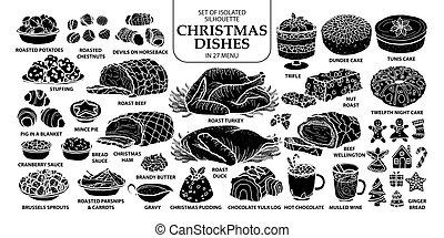 reizend, satz, silhouette, grobdarstellung, geschirr, plane., menu., freigestellt, abbildung, hand, traditionelle , 27, vektor, schwarz, gezeichnet, weißes weihnachten