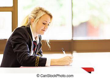 reizend, schule, weibliche , studieren, hoch, schueler