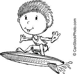 reizend, skizze, kunst, abbildung, surfer