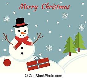 reizend, snowman., weihnachtskarte