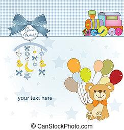 reizend, teddybär, dusche, baby, karte