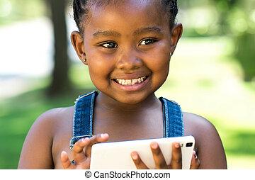 reizend, telefon., m�dchen, afro, spielende , klug