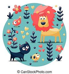 reizend, tier- satz, gemacht, mit, katz, löwe, vogel, blume, pflanze, blatt, beere, herz, freund