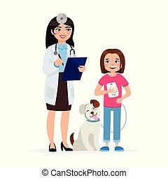 reizend, tierarzt, m�dchen, wohnung, hund, abbildung, freigestellt, hintergrund., vektor, charaktere, lächeln, weißes, glücklich, karikatur, design.