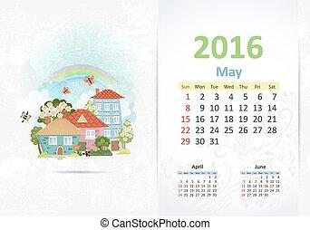 reizend, town., mai, lieb, 2016, kalender