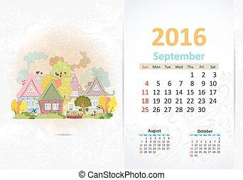 reizend, town., september, lieb, 2016, kalender