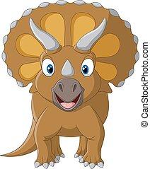reizend, triceratops, drei, gehörnt