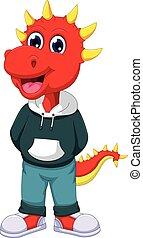 reizend, triceratops, karikatur, posierend