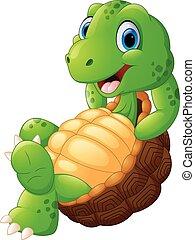 reizend, turtle, karikatur, posierend