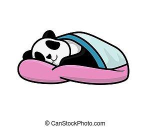 reizend, unter, eingeschlafen, abbildung, panda, decke