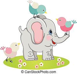reizend, vögel, drei, elefant