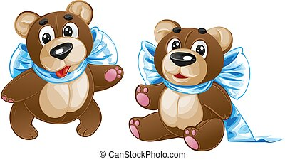 reizend, verschieden, spielzeug, teddy, -, bär, schleife, kinder, posen, weich