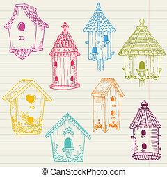 reizend, vogelhaus, doodles, -, hand, gezeichnet, in, vektor, -, für, design, und, sammelalbum