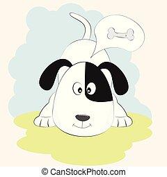 reizend, weißes, junger hund, denken, über, lieb, bone.