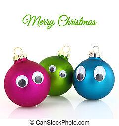 reizend, weihnachten, kugeln, mit, augenpaar, freigestellt, weiß