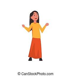 reizend, wenig, abbildung, traditionelle , vektor, araber, m�dchen, glücklich, kleidung