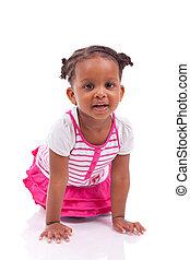 reizend, wenig, afrikanisches amerikanisches mädchen, -, schwarz, kinder