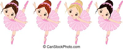 reizend, wenig, ballerinen, haar, farben, vektor, verschieden