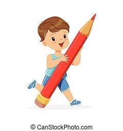 reizend, wenig, bleistift, junge, riesig, abbildung, vektor, besitz, karikatur, rotes