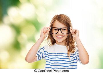 reizend, wenig, brille, schwarz, lächelnden mädchen