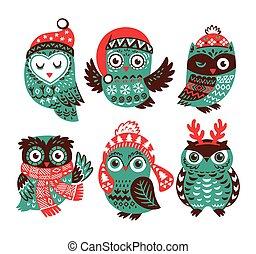 reizend, wenig, hüte, sammlung, gestrickt, eulen, weihnachten