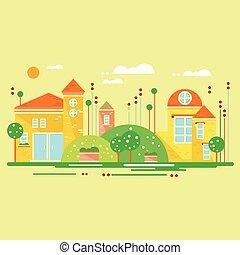 reizend, wenig, houses., abbildung, vektor, landschaftsbild
