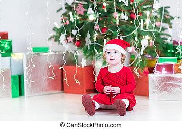 reizend, wenig, kleinkind, m�dchen, in, a, nikolausmuetze, und, rotes kleid, spielende , wi