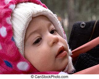 reizend, wenig, kleinkind, m�dchen, in, schöne , warm, hut