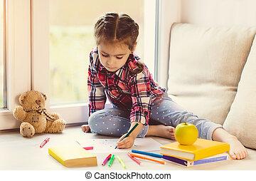 reizend, wenig, kleinkind, m�dchen, zeichnung, fenster, mit, spielzeuge