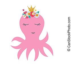 reizend, wenig, mã¤nnerhemd, krone, abbildung, vektor, blumen, oktopus, prinzessin, karte, design.