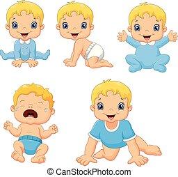 reizend, wenig, satz, verschieden, babys, posen