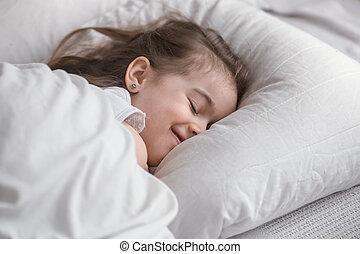 reizend, wenig, sweetly, schläft, bett, m�dchen
