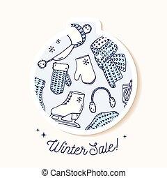 reizend, winter, gestrickt, pattern., aufkleber, verzierung, hand, accessories., gezeichnet, feiertag, flitter, weihnachten