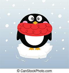 reizend, winter, pinguin, auf, funkeln, eisberg