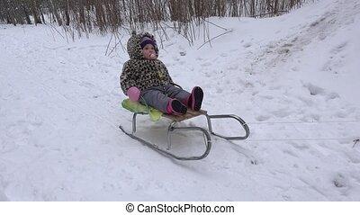 reizend, winter, reiten, clipart kinderschlitten, park.,...