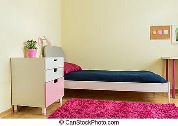 reizend, zimmer, mit, rosa, teppich