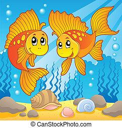 reizend, zwei, goldfische