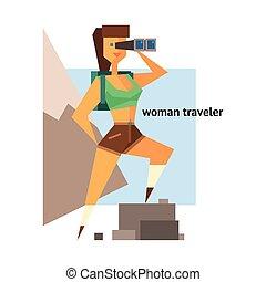 reiziger, abstract, vrouw, figuur