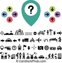 reiziger, richting, ontdekkingsreiziger, pictogram