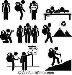reiziger, schooltas, ontdekkingsreiziger, pictogram